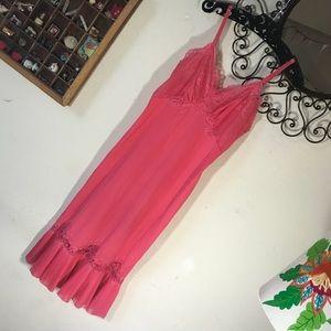 Vintage Vibrant Pink Pleated Vintage Slip Gown
